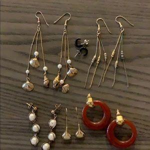 6 pairs vintage pierced earrings, 3 posts, 3 wires